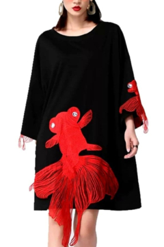 Fashion Black with Red Koi Fish Dress - Product List Image