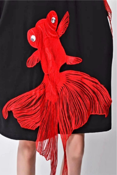 Fashion Black with Red Koi Fish Dress - Alternate List Image