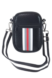 Peace Love Black with white, Grey and Red Stripe Neoprene Crossbody Bag - Product Mini Image