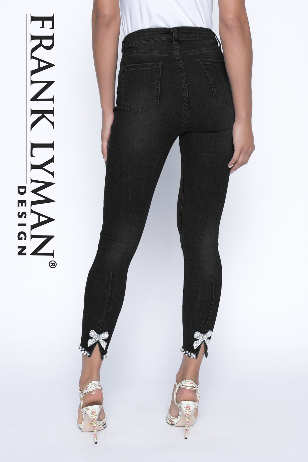 Frank Lyman Black Woven Jeans Pant - Front Cropped Image
