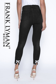 Frank Lyman Black Woven Jeans Pant - Front cropped