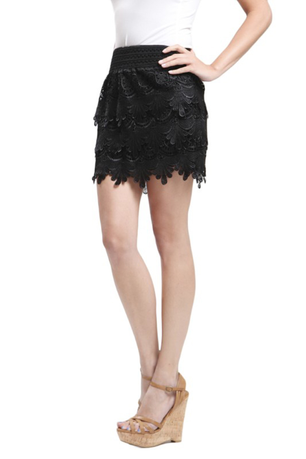 Blu Pepper Black Woven Lace Skirt - Front Full Image