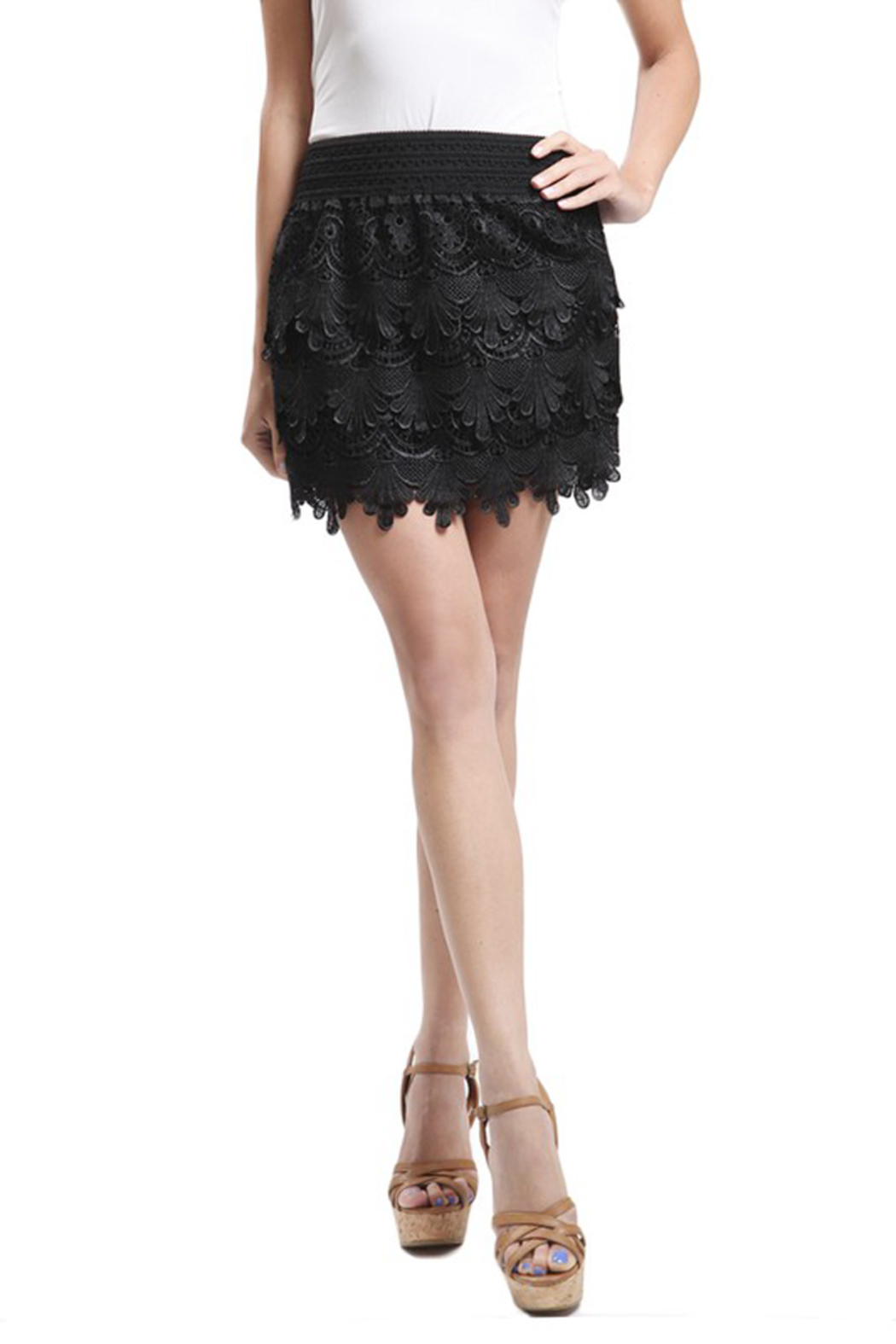 Blu Pepper Black Woven Lace Skirt - Main Image