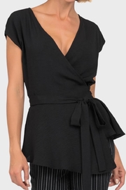 Joseph Ribkoff Black Wrap Top - Front cropped