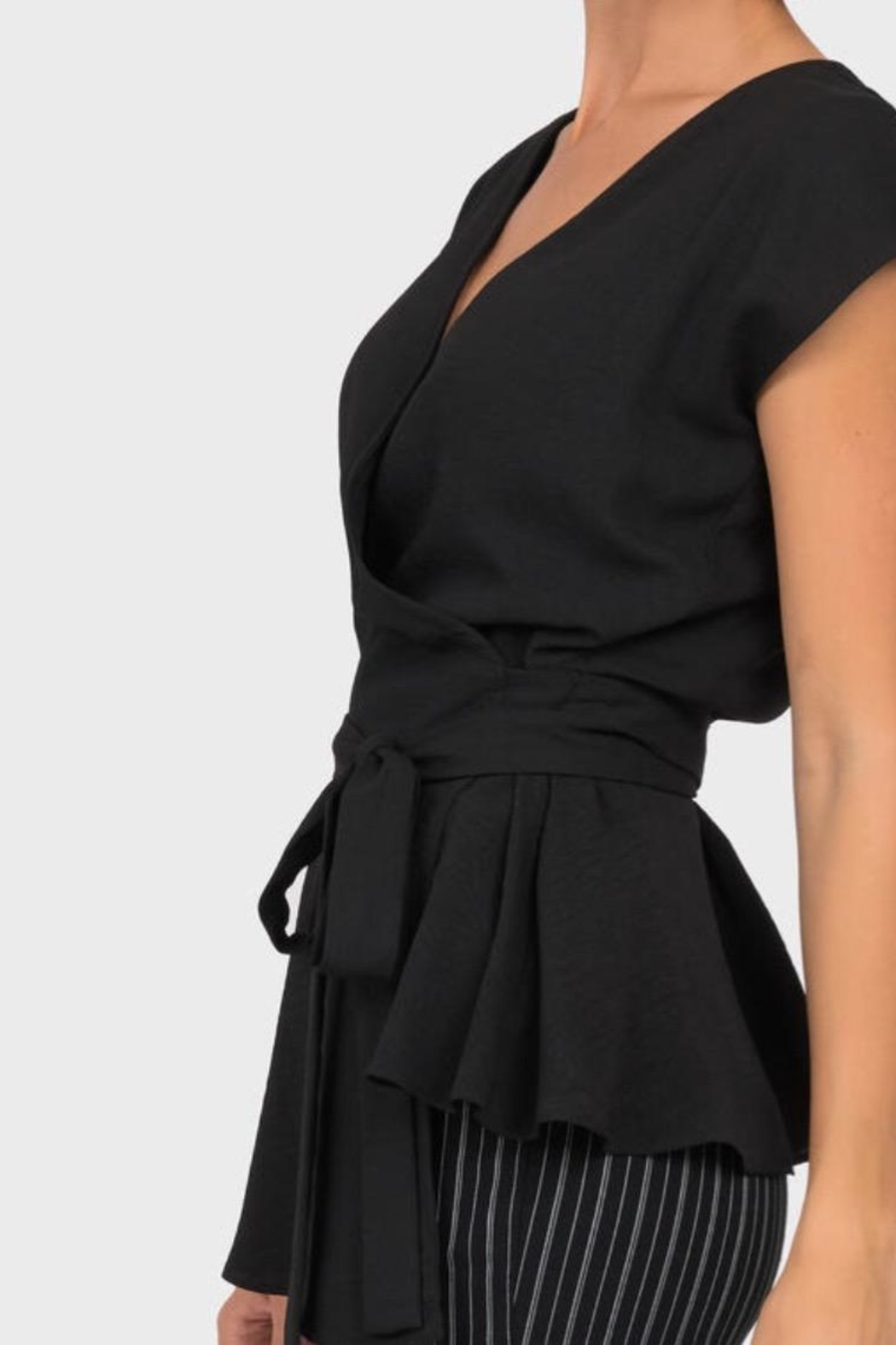 Joseph Ribkoff Black Wrap Top - Front Full Image