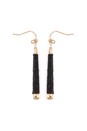 Riah Fashion Black Wrapped Earrings - Product Mini Image