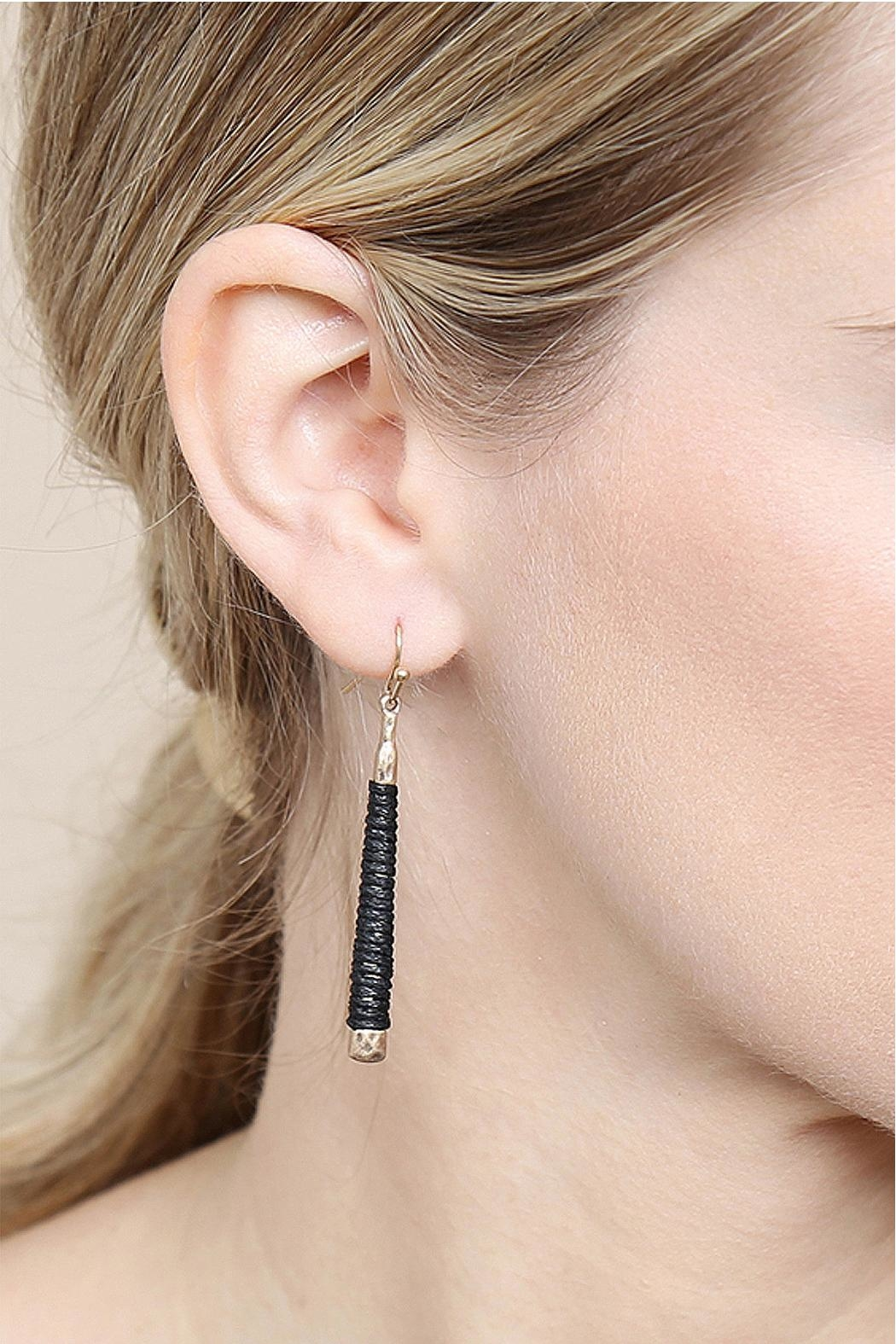 Riah Fashion Black Wrapped Earrings - Front Full Image