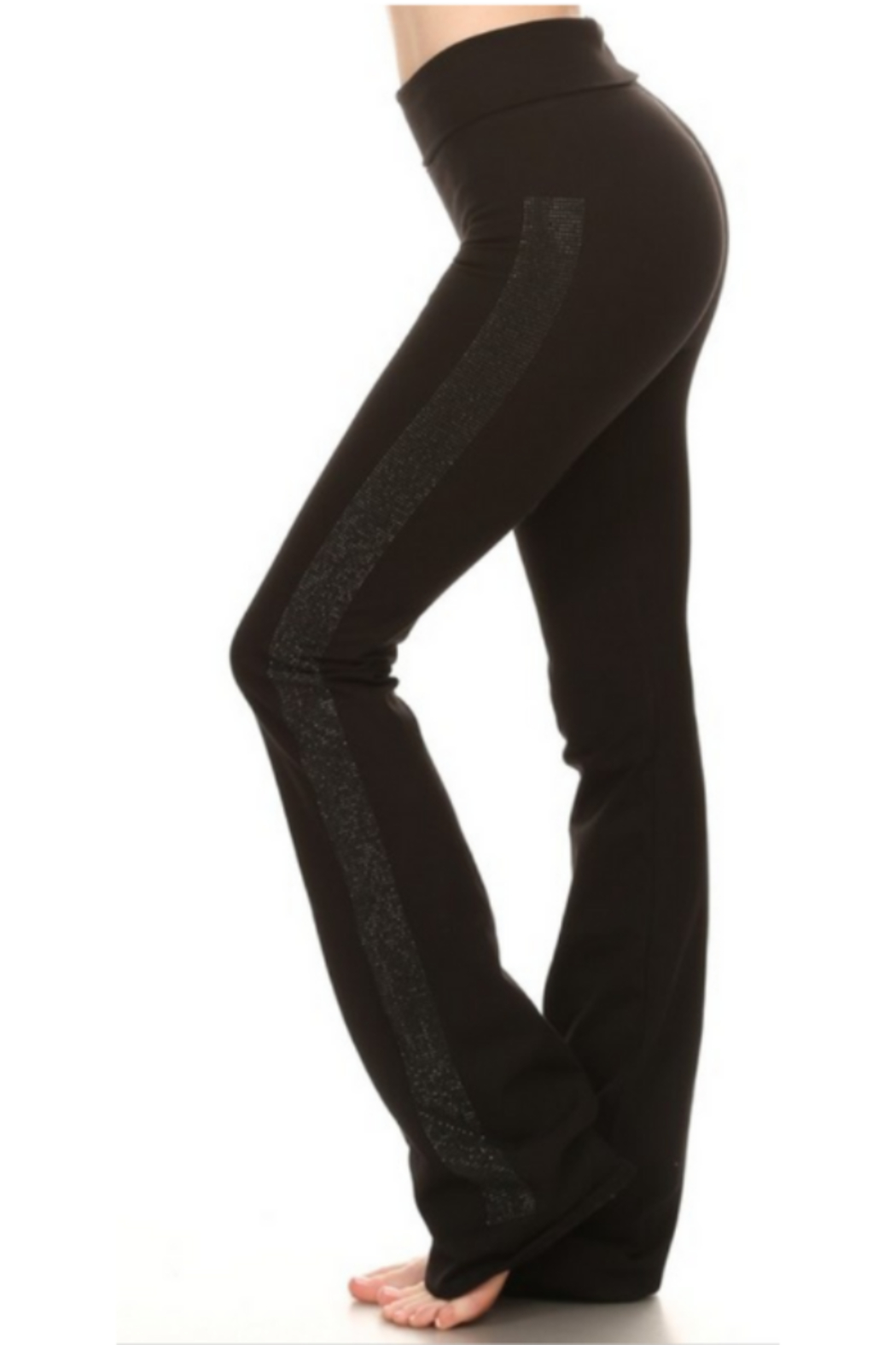 T Party Black Yoga Pants with Side Bling - Side Cropped Image