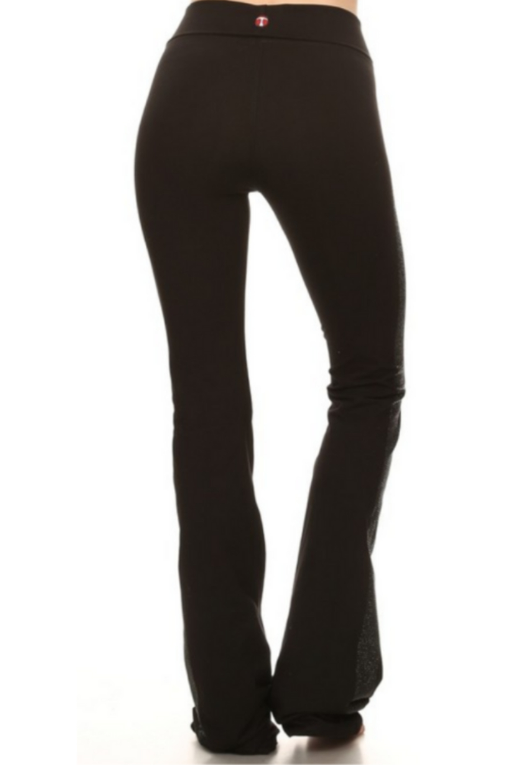T Party Black Yoga Pants with Side Bling - Front Full Image