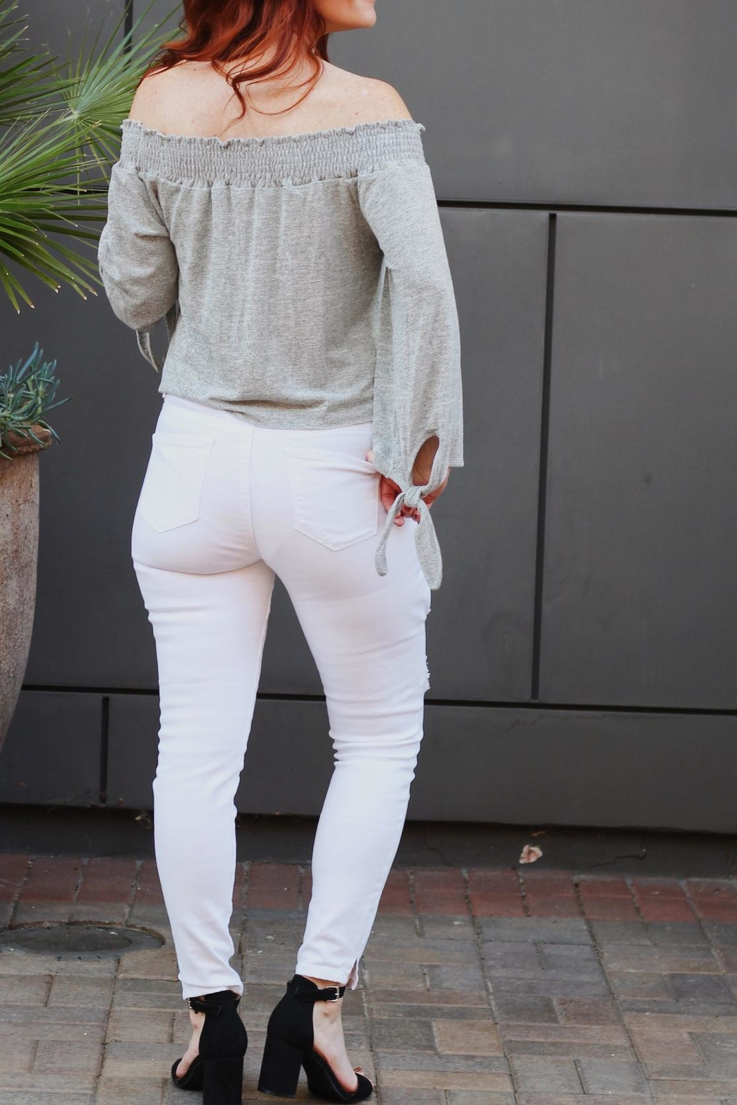 Black Label White Ripped Jeans - Front Full Image