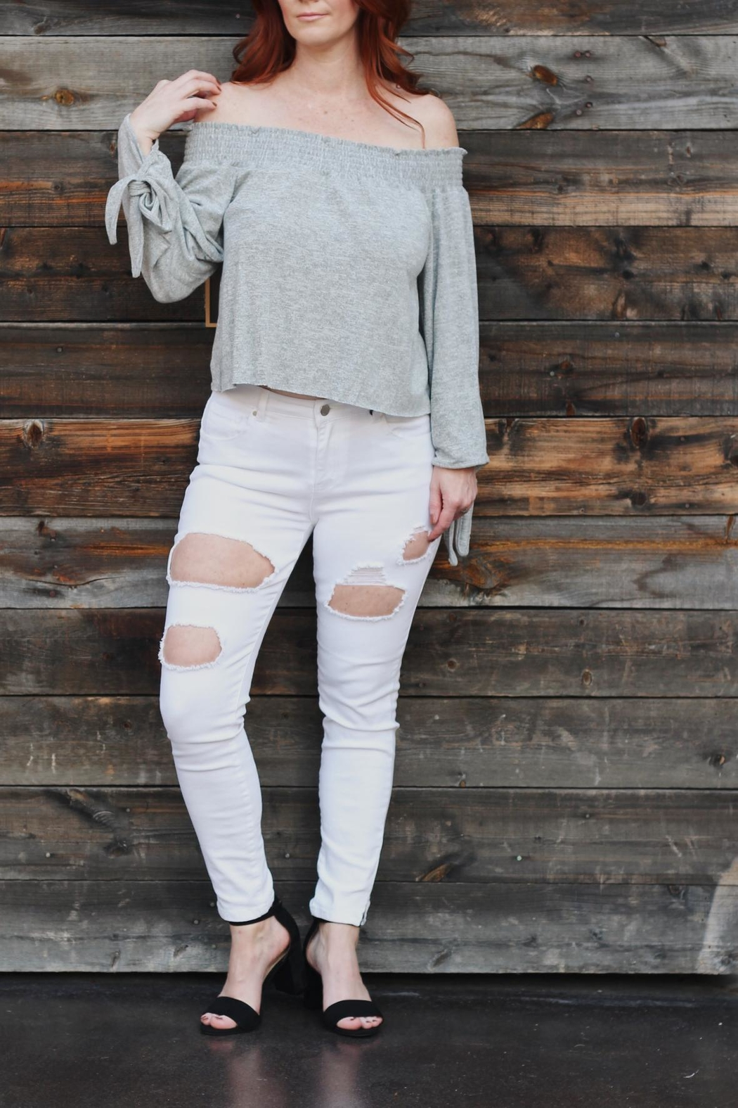 Black Label White Ripped Jeans - Main Image