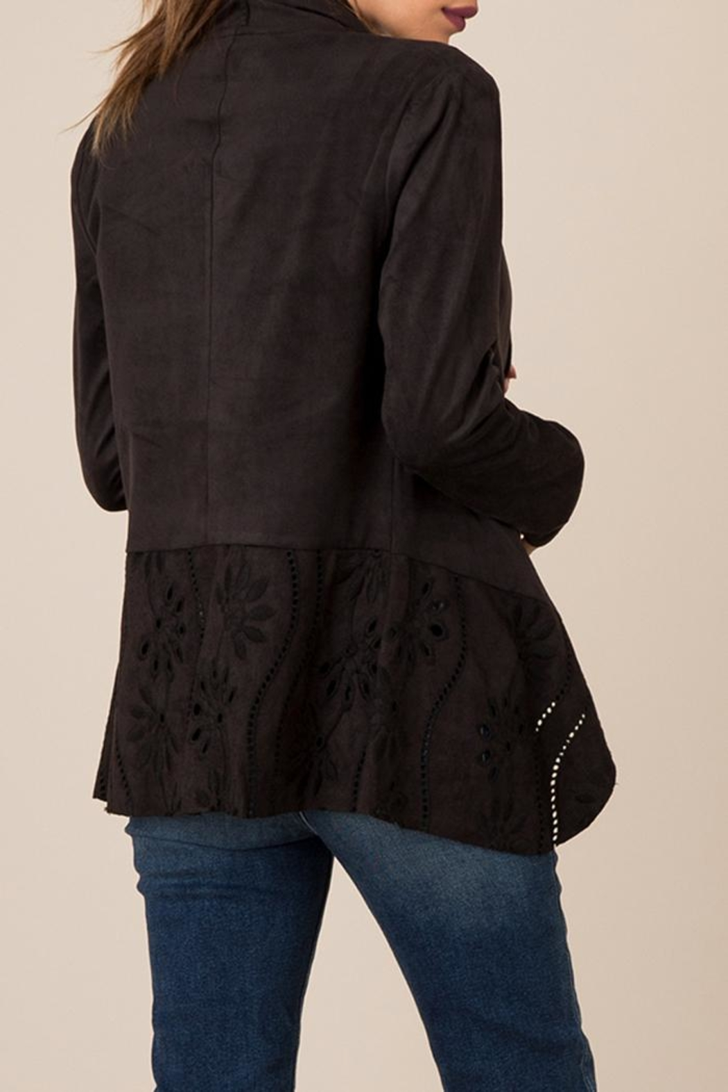 Black Swan Cut-Out Suede Jacket - Front Full Image