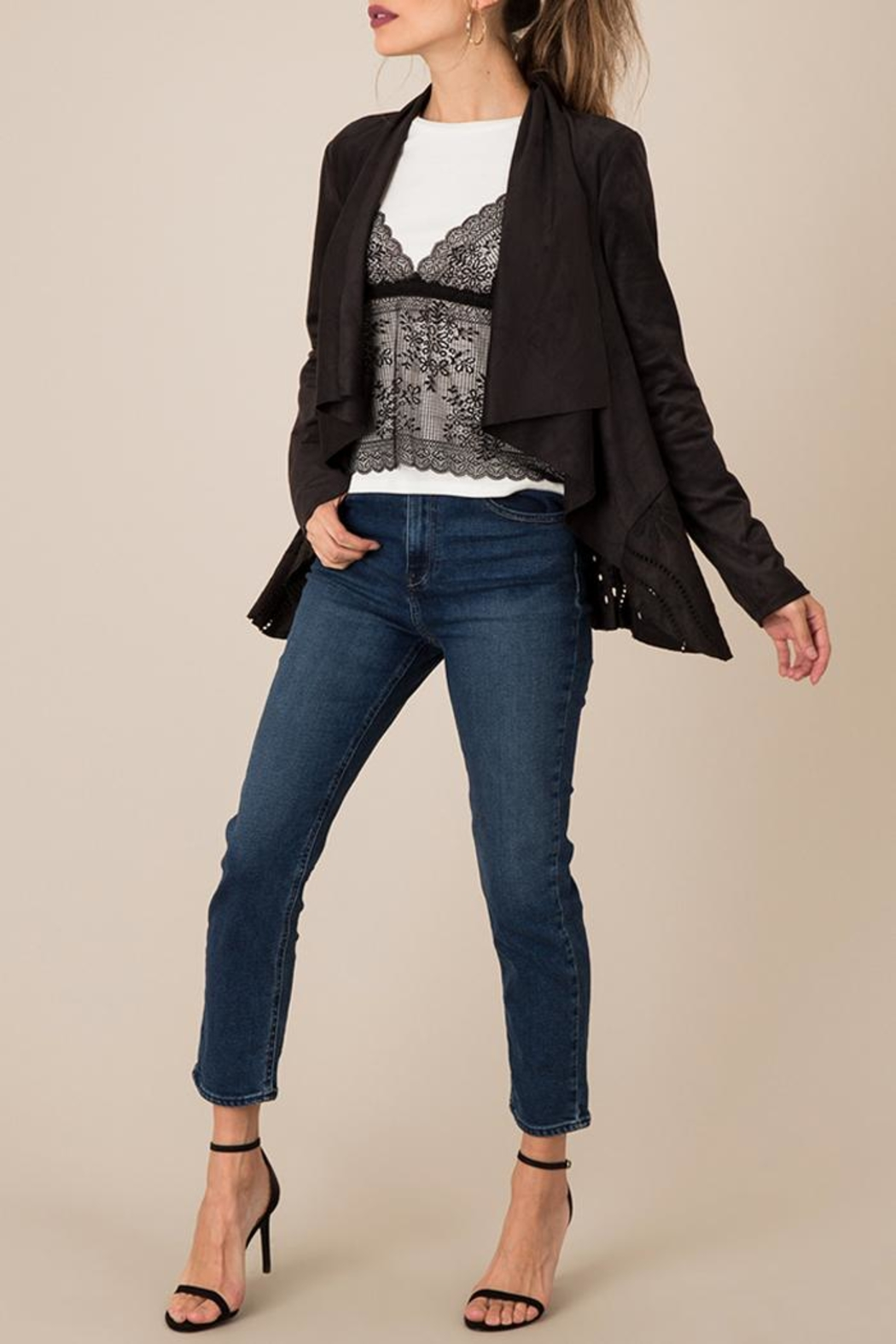 Black Swan Cut-Out Suede Jacket - Main Image