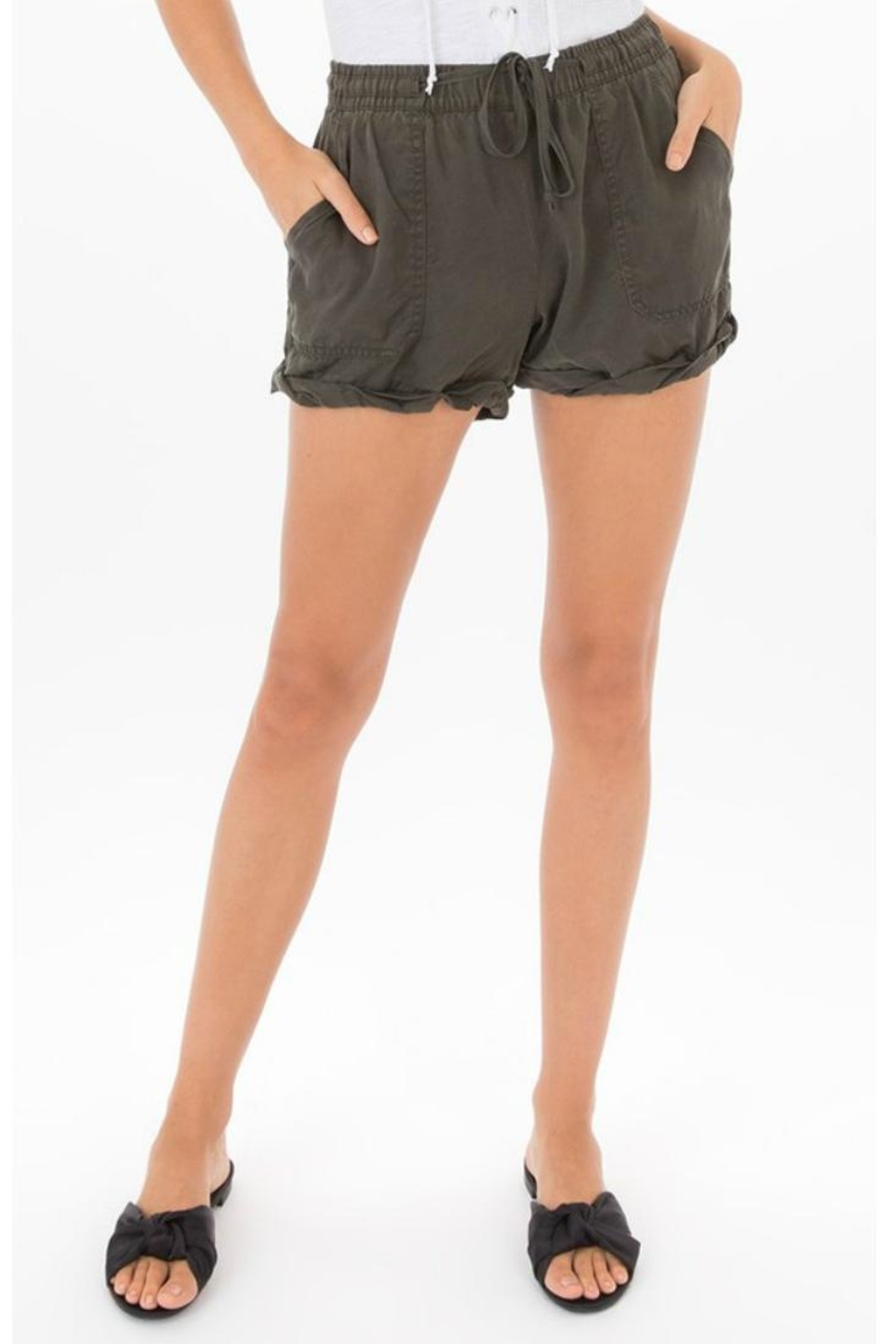 Black Swan Olive Tie Shorts - Main Image