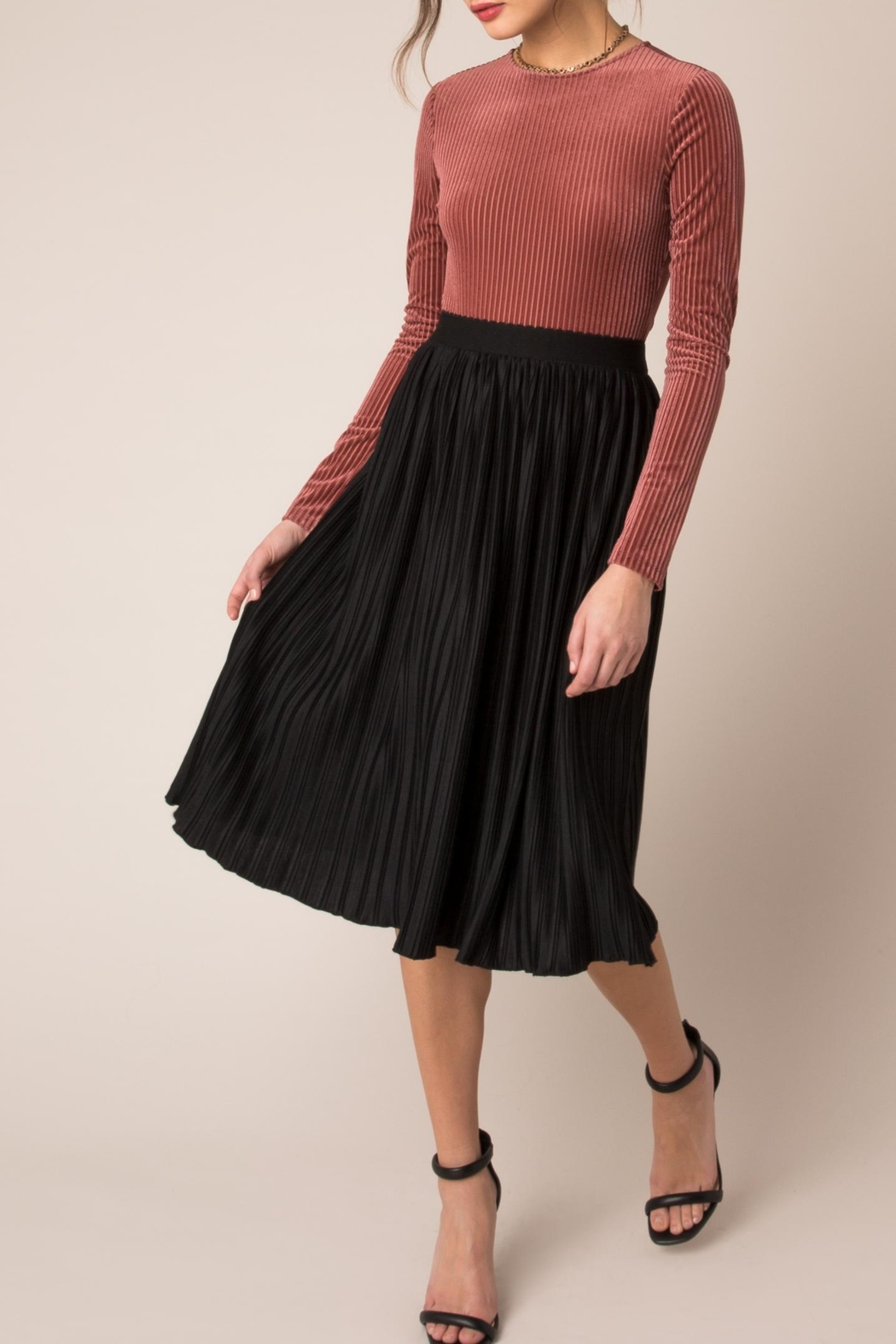 167162314fe Black Swan Pleated Midi Skirt from New Jersey by Seagrass Boutique ...