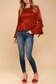 Black Swan Satin Flounce-Sleeve Top - Product Mini Image