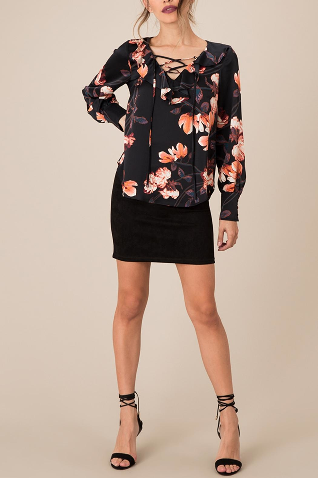 Black Swan Silky Floral Top - Side Cropped Image