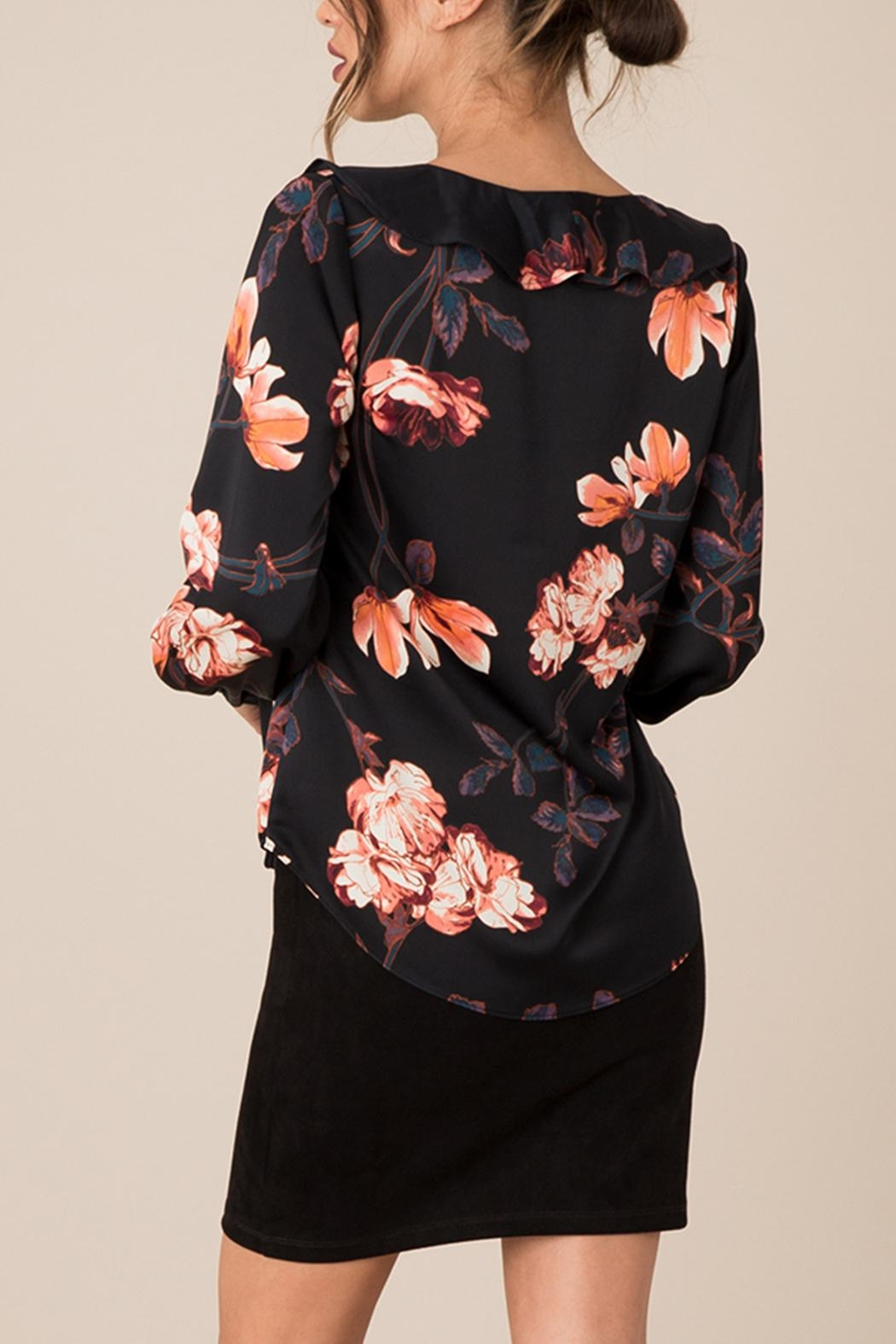 Black Swan Silky Floral Top - Front Full Image