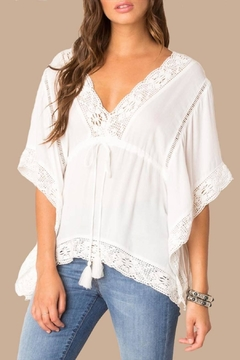 Black Swan White Boho Top - Product List Image