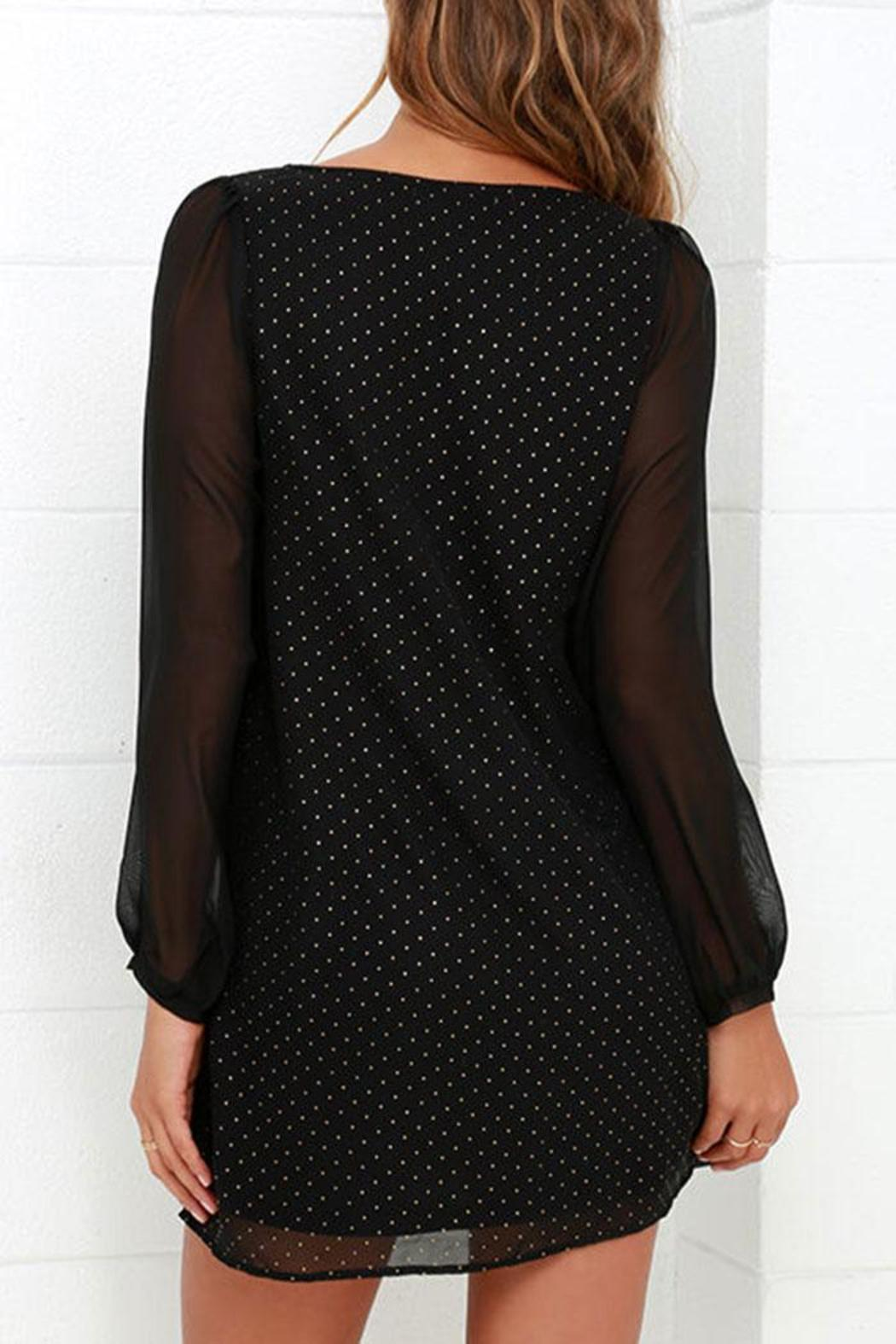 Black Swan Clothing Sheer Sleeve Dress - Side Cropped Image