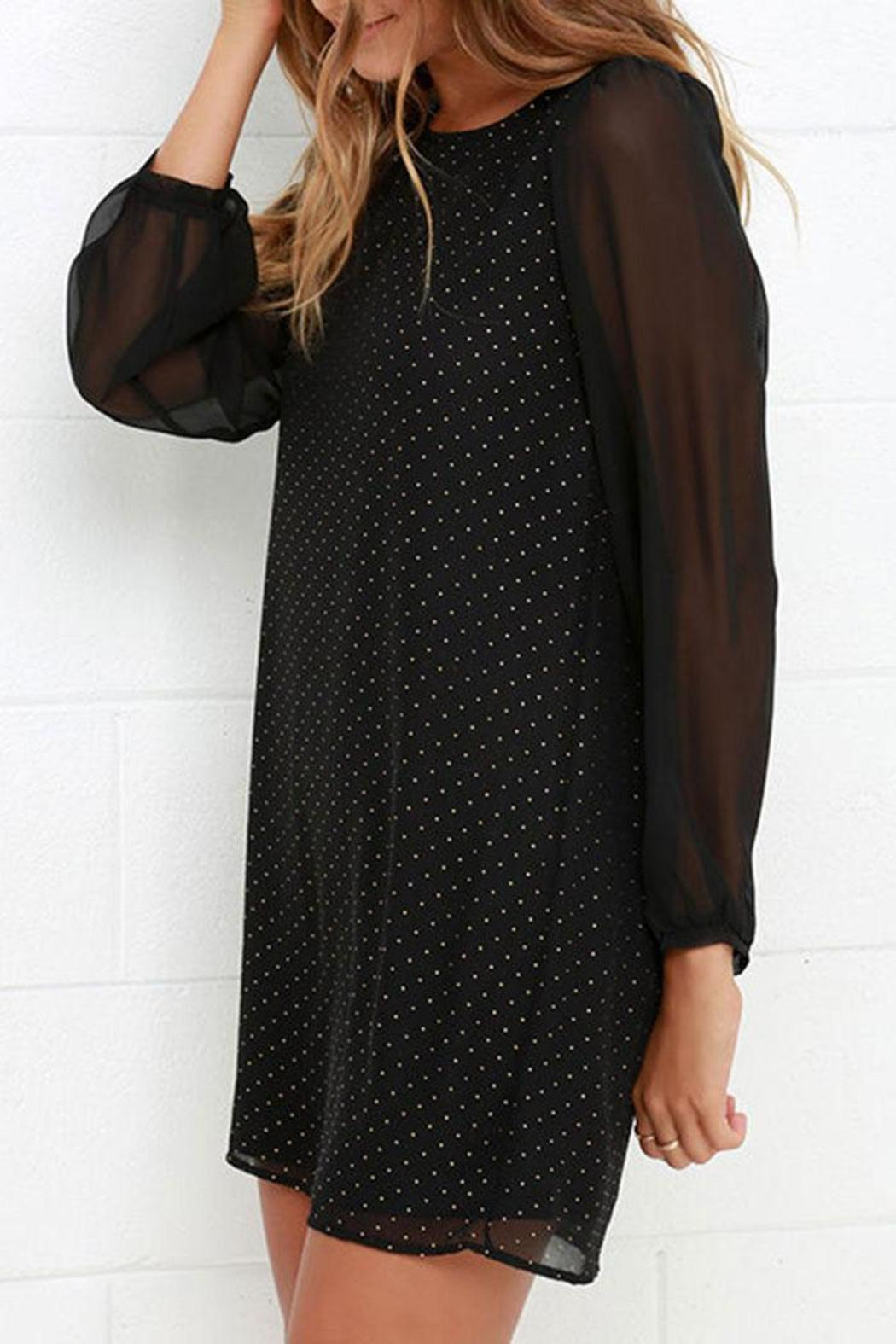 Black Swan Clothing Sheer Sleeve Dress - Back Cropped Image