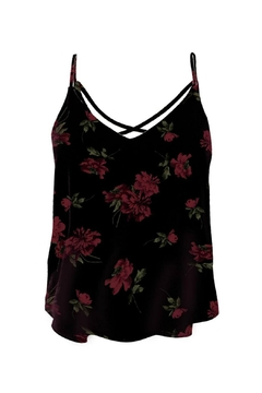Black Tape Cross Back Floral Top - Product List Image