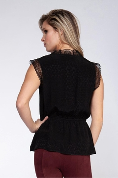 Black Tape Dot Lace Top - Alternate List Image