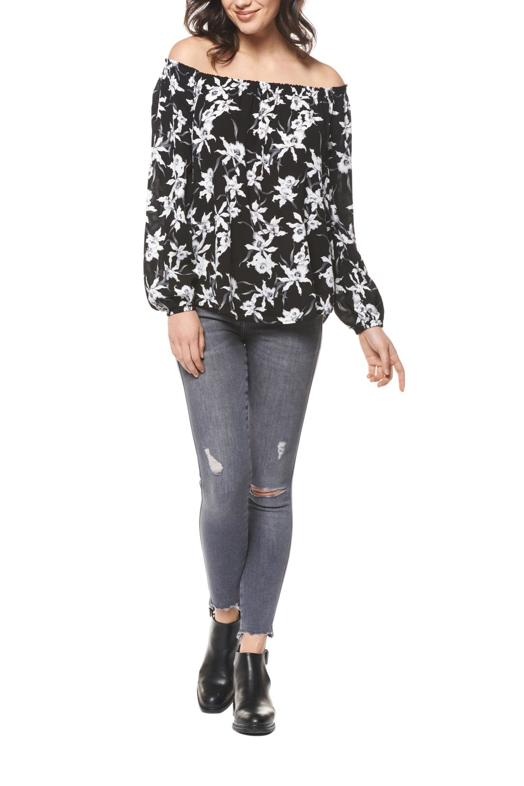 Black Tape Floral Off-Shoulder Top - Main Image