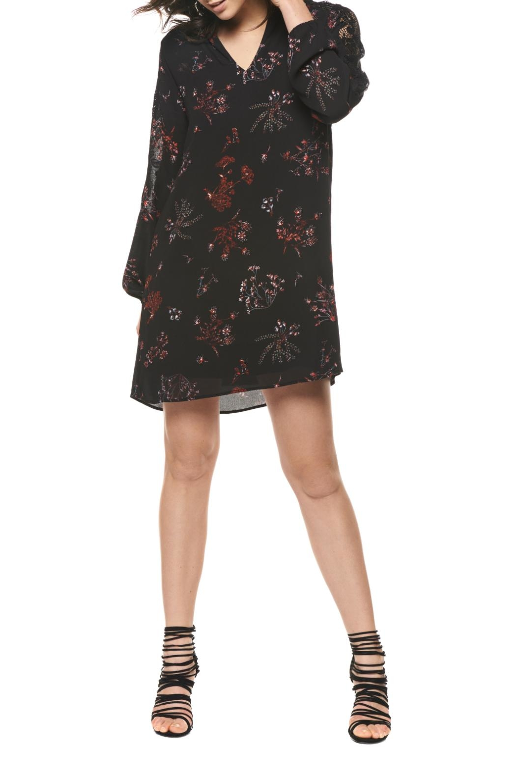 Black Tape Floral Sheath Dress - Front Cropped Image