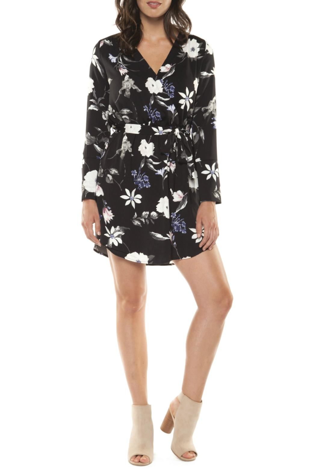 Black Tape Floral Wrap Dress - Front Cropped Image