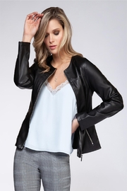 Black Tape Front Zip Moto Jacket - Front cropped