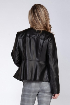 Black Tape Front Zip Moto Jacket - Alternate List Image