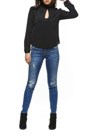Black Tape Keyhole Front Blouse Top - Front cropped