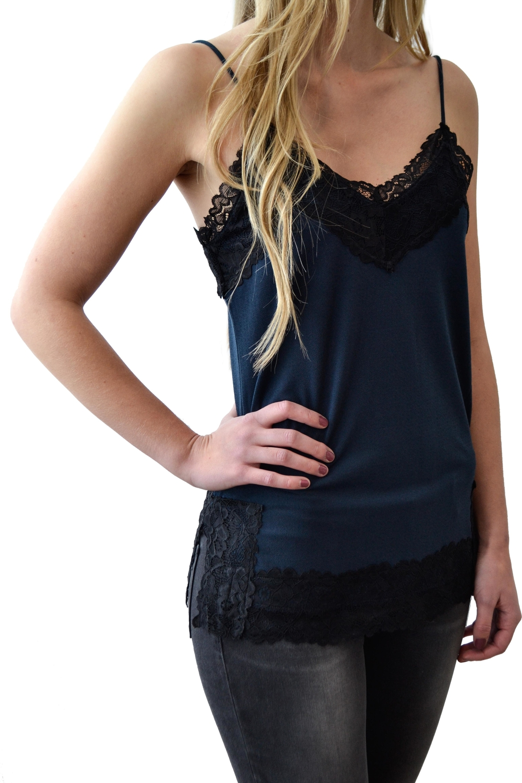 Black Tape Lace Camisole - Front Full Image