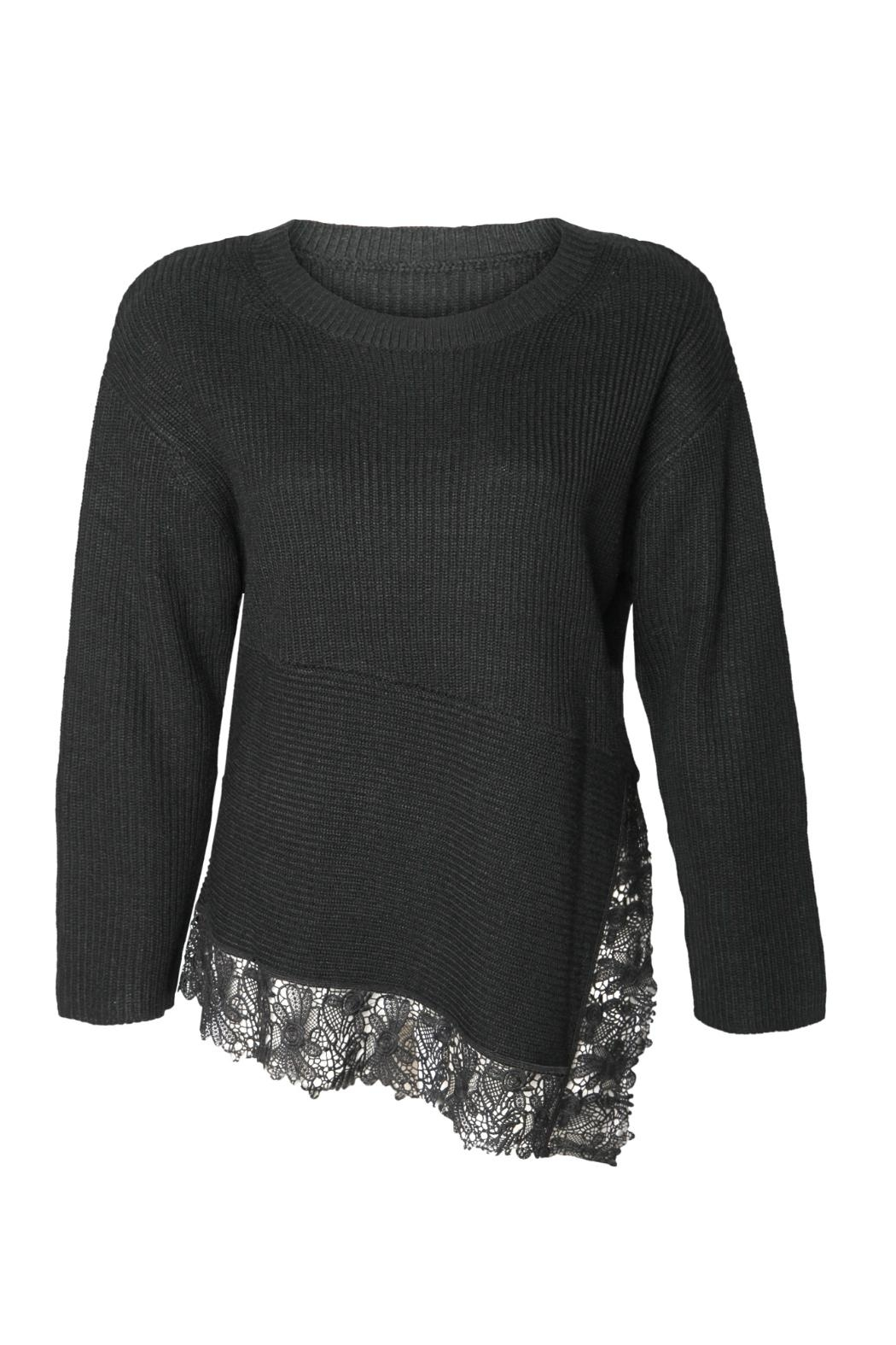 Black Tape Lace Hem Sweater - Front Cropped Image