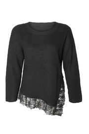 Black Tape Lace Hem Sweater - Front cropped