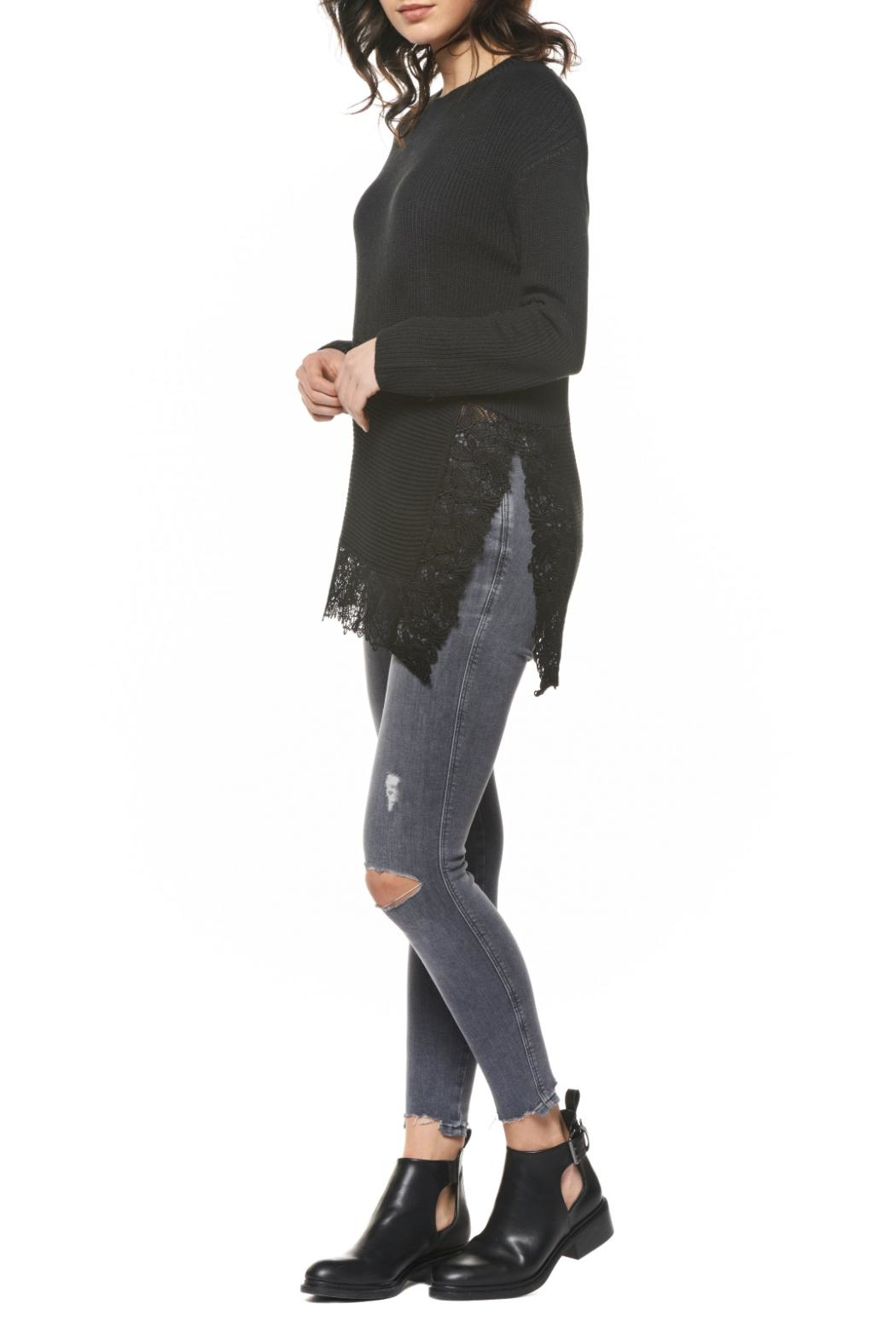 Black Tape Lace Hem Sweater - Front Full Image