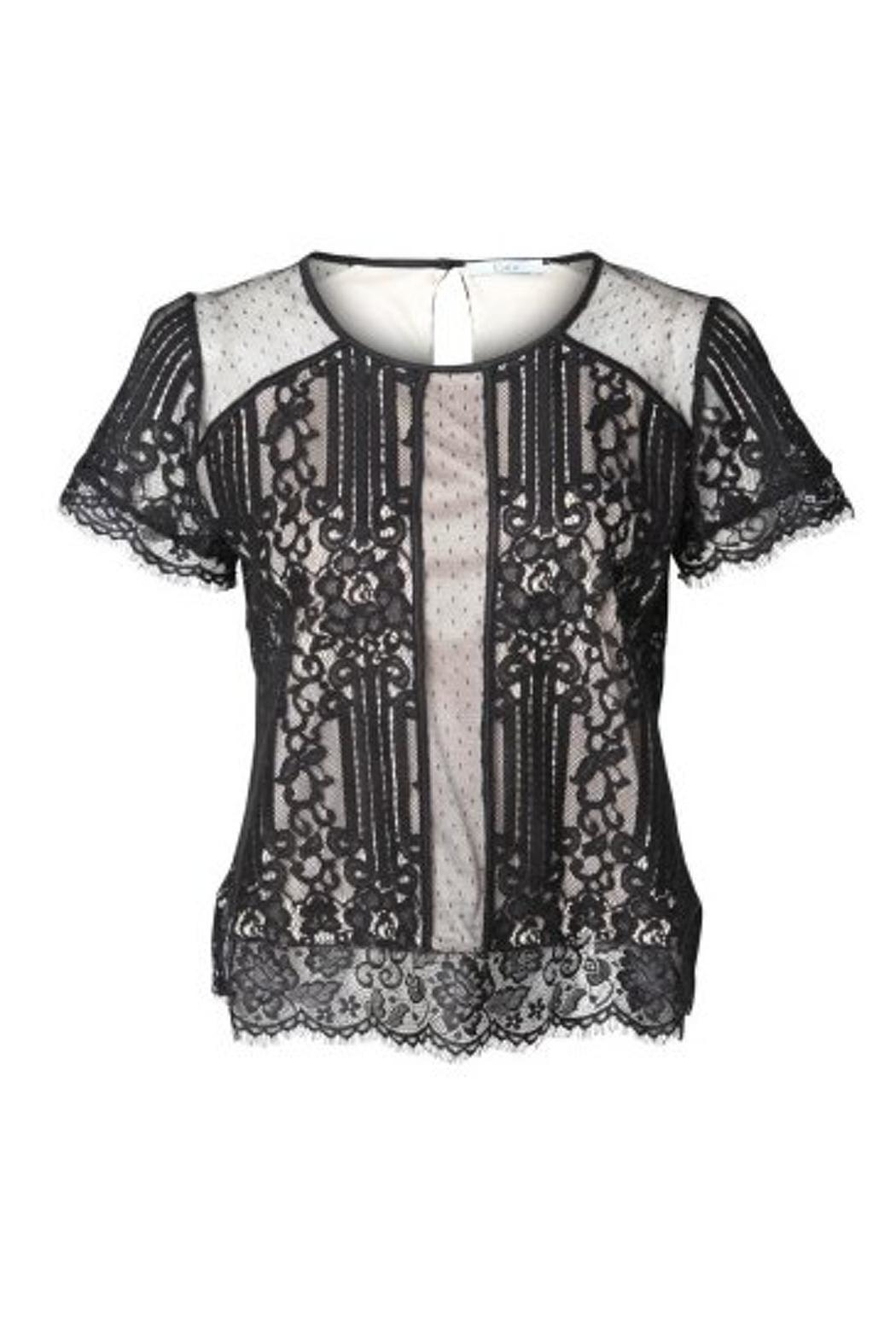 Black Tape Lace Overlay Top - Main Image