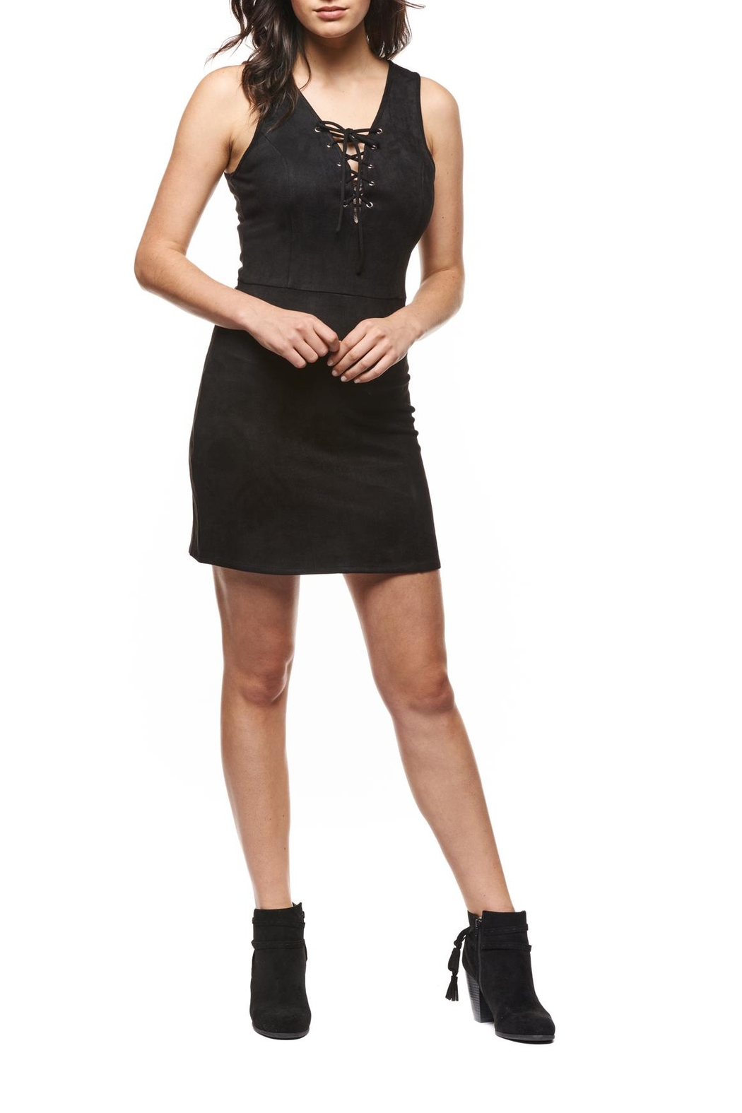 Black Tape Lace-Up Suede Dress - Main Image