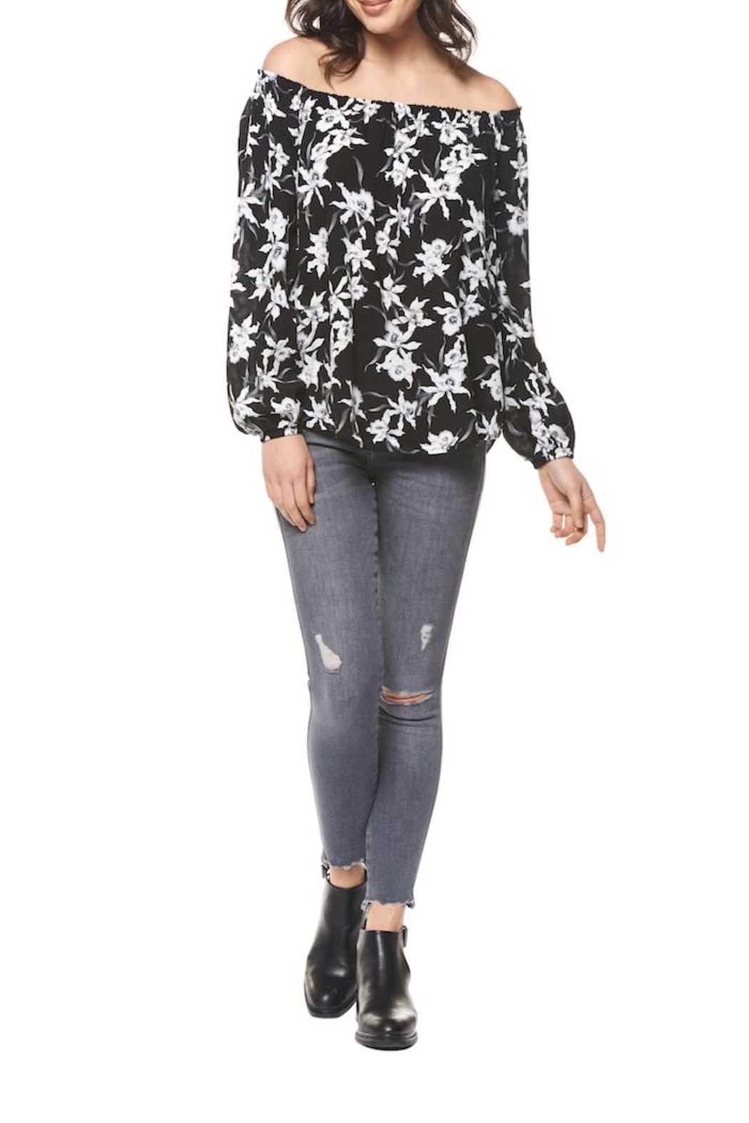 Black Tape Black Printed Floral Top - Front Cropped Image