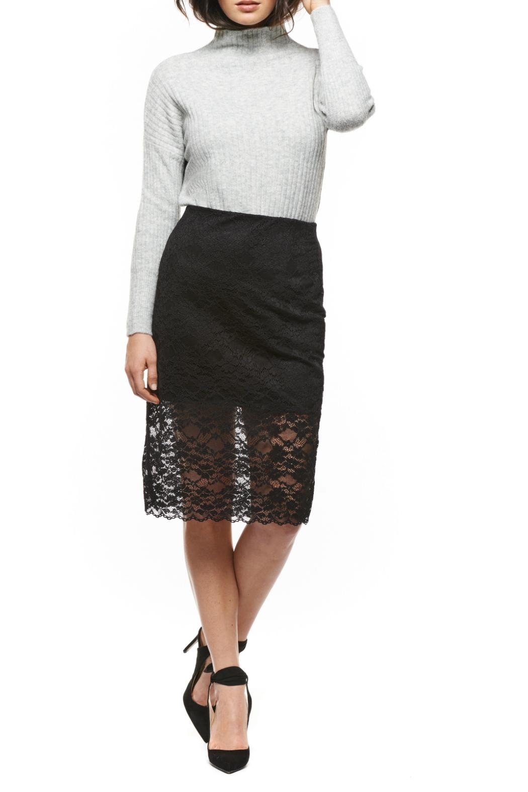Black Tape Pull Up Lace Skirt - Main Image