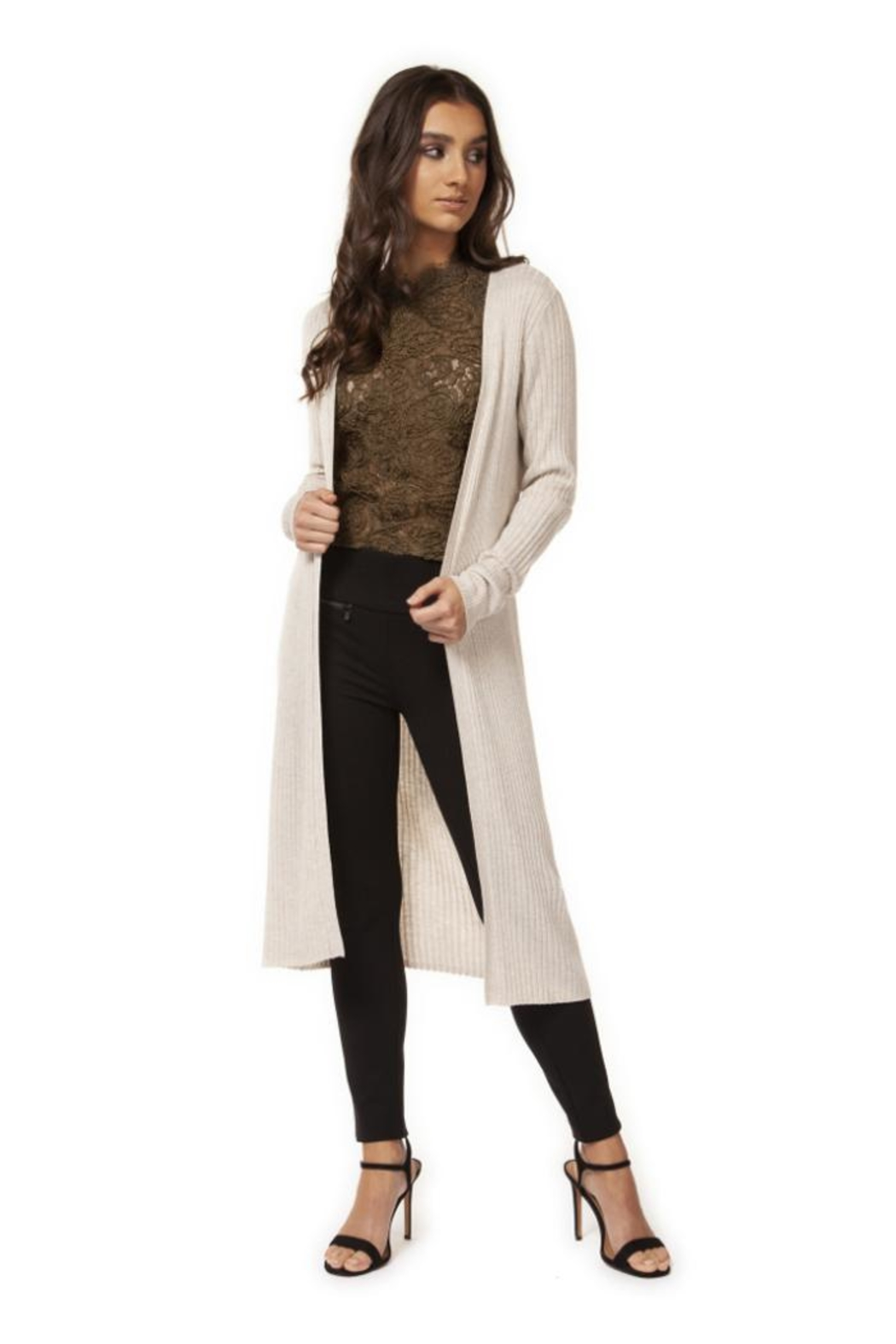 Black Tape Ribbed Full-Length Cardigan - Front Cropped Image