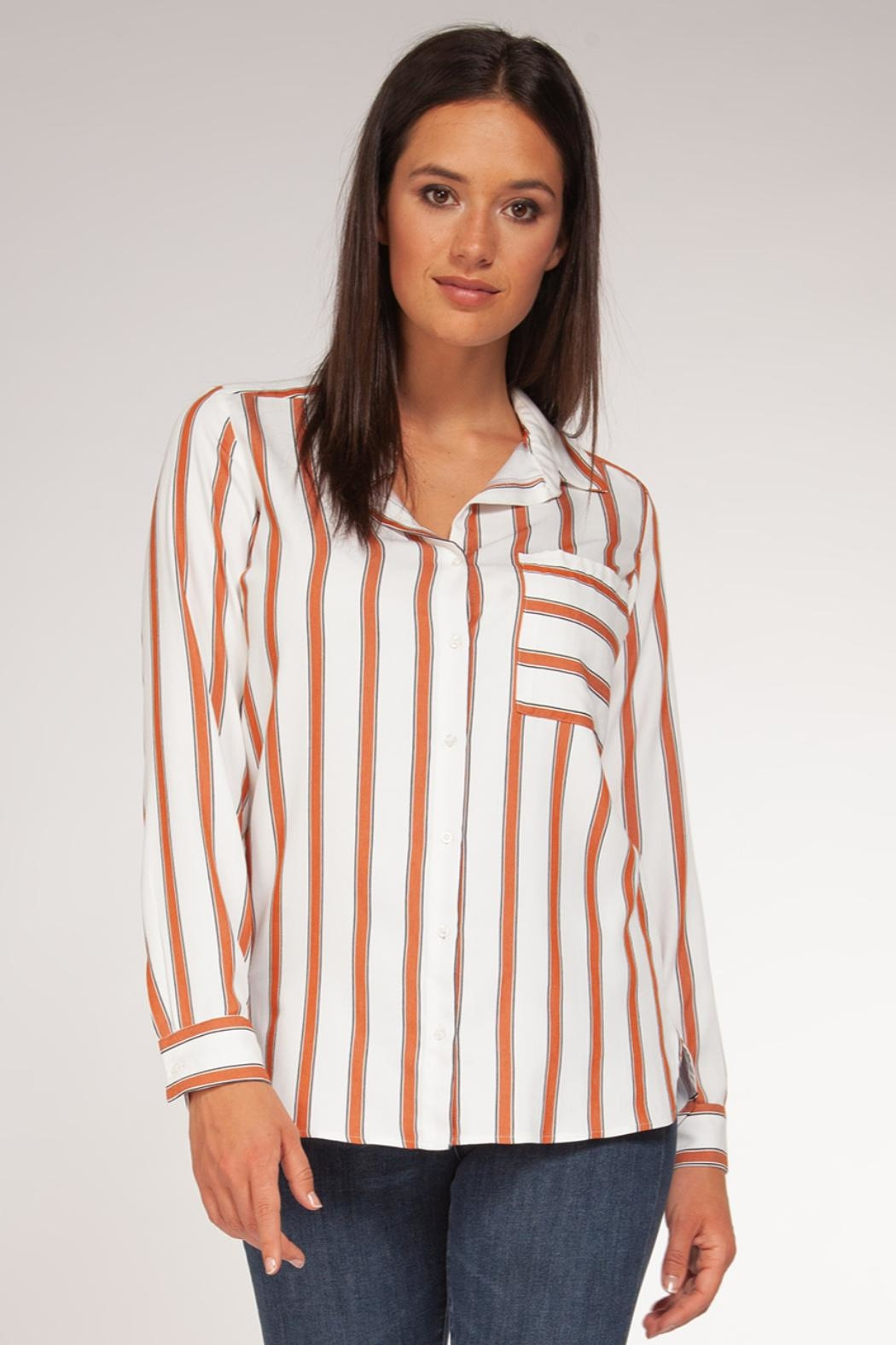 Black Tape Rust Stripe Blouse - Front Cropped Image