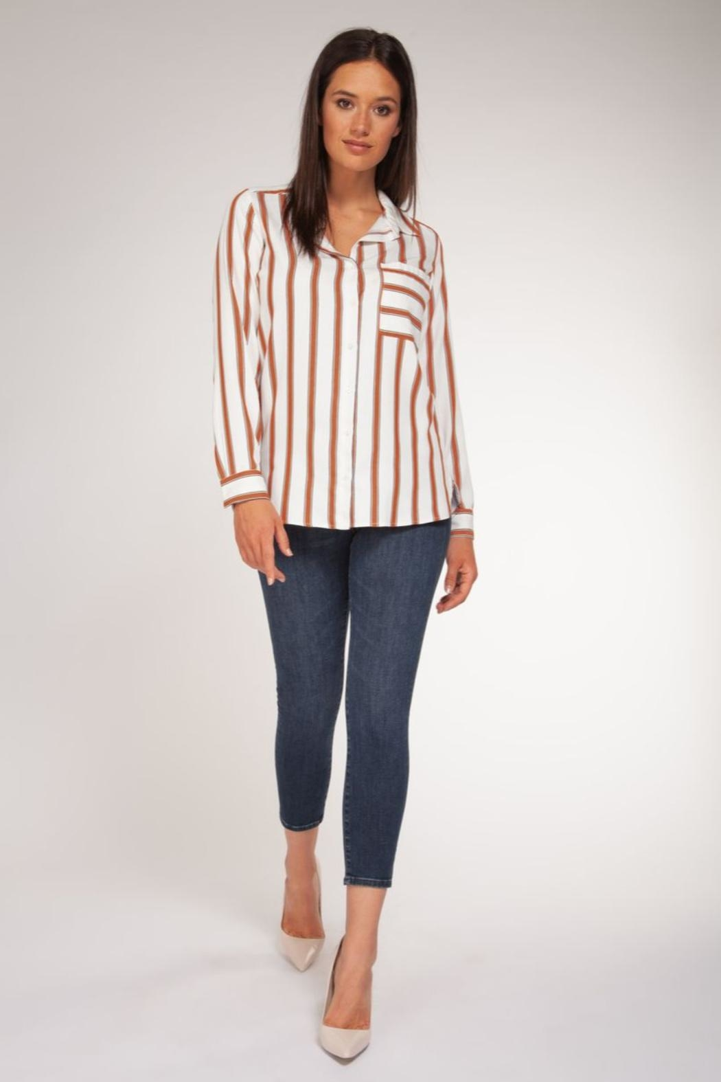 Black Tape Rust Stripe Blouse - Side Cropped Image