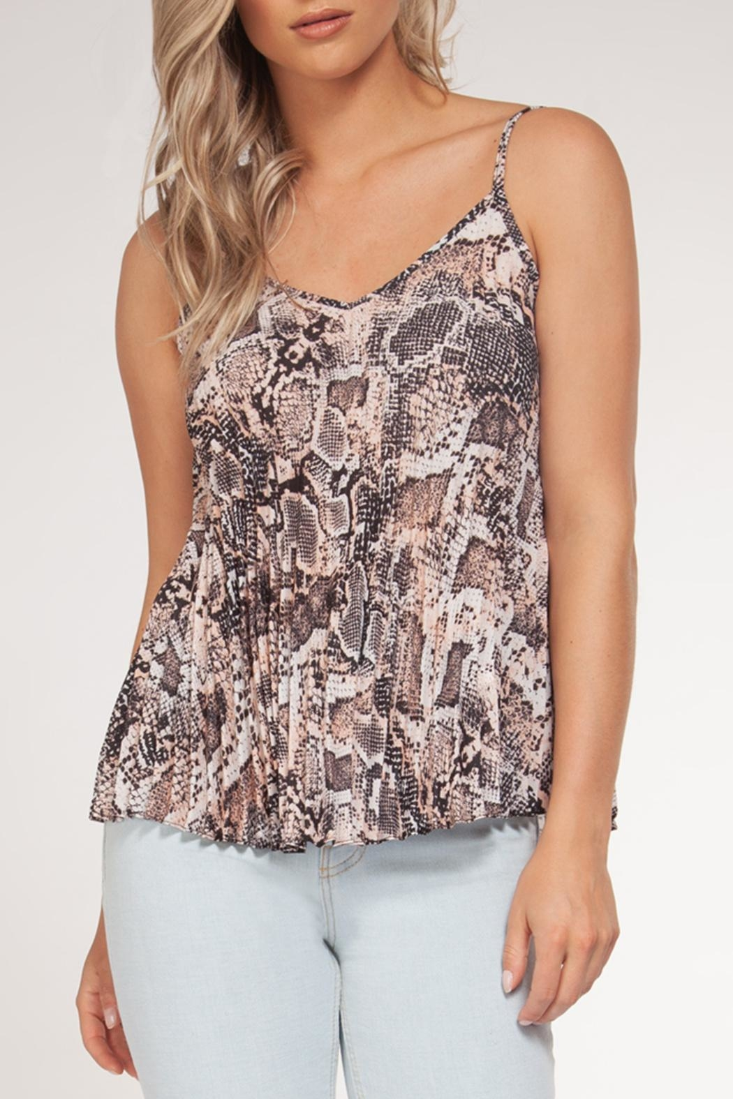 Black Tape Snake Print Pleated Tank - Front Cropped Image