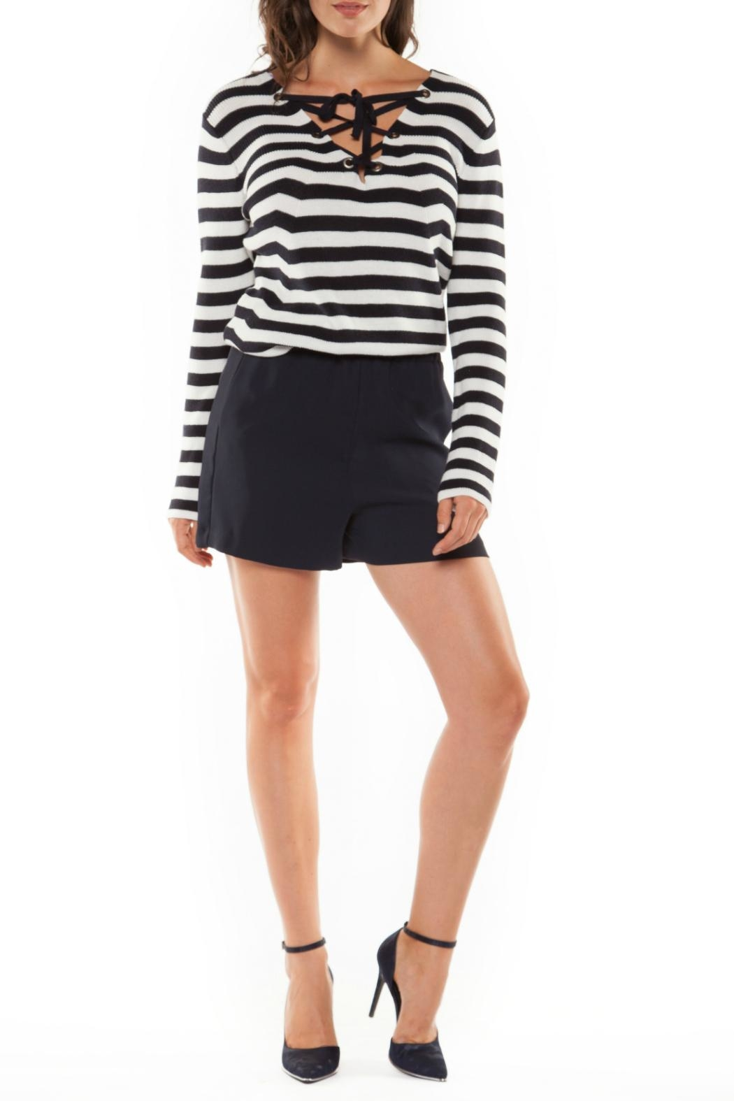 Black Tape Stripe Tie-Up Sweater - Main Image