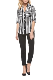Black Tape Striped Pocket Blouse - Product Mini Image