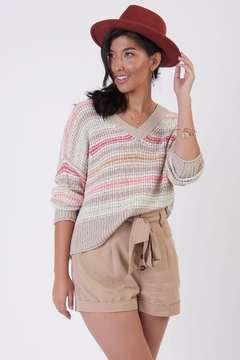 Shoptiques Product: Textured Sweater - Pastel Stripe