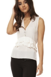 Black Tape White Ruffle Tank - Product Mini Image