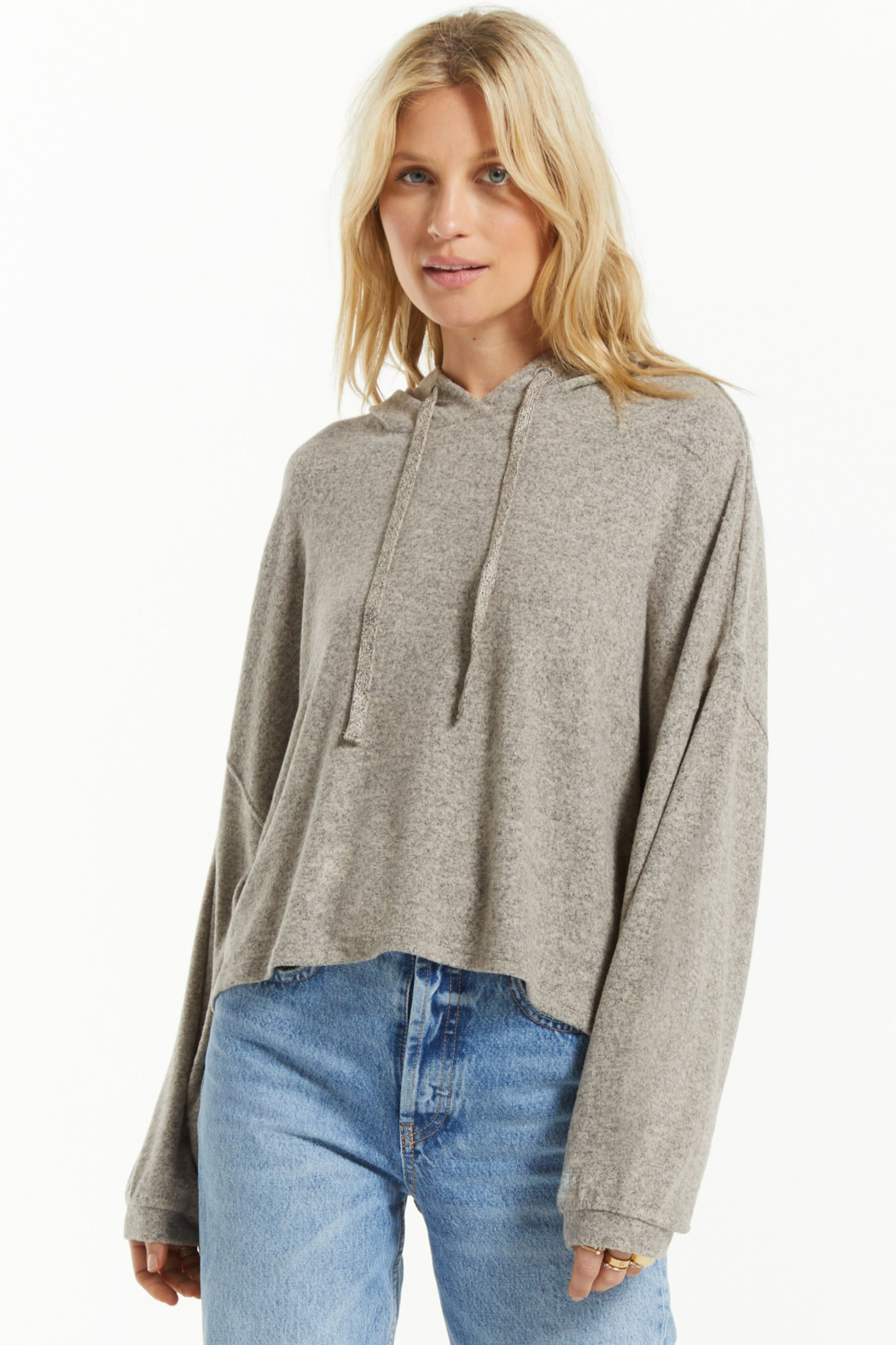 z supply Blaine Cozy Marled Hoodie - Front Cropped Image